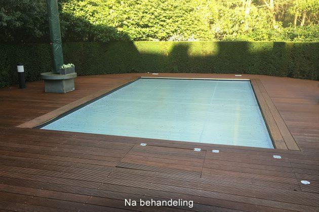 Gebruik vlonderolie bij het zwembad voor minder uitglijdgevaar